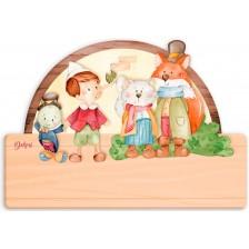 Детска дървена табела Haba - Пинокио, име с български букви -1