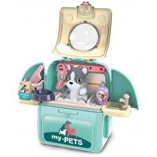 Детска играчка 2 в 1 Ocie - Салон за домашен любимец в раница, син, с куче -1