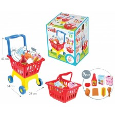 Детска играчка Mochtoys - Количка за пазаруване с кошница -1