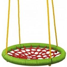 Детска кръгла люлка Woody - Зелена, 83 cm