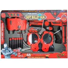 Детски пистолет Red Guns - С пълнител, 6 меки стрели, бинокъл и белезници -1