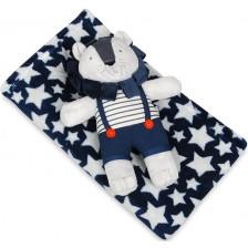 Детско одеяло с плюшена играчка Baby Matex - Carol, Лъвче -1