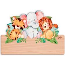Детска дървена табела Haba - Приятели, име с български букви -1