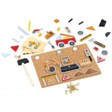 Детска творческа игра Bigjigs - Строител, с коркова дъска и чукче -1