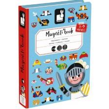 Детска магнитна книга Janod - Момчета с магнитни дрехи -1