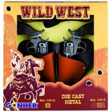 Детска играчка Gonher Wild West-  Мини револвер, 2 броя -1