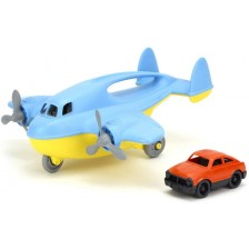 Детска играчка Green Toys - Карго самолет, с количка, син -1