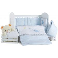 Спален комплект с бродерия Dizain Baby - Слонче, син, 4 части, 70 х 140 -1