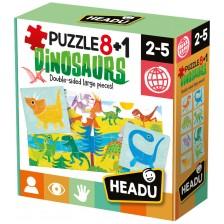 Образователни пъзели Headu - Динозаври, 8+1 -1