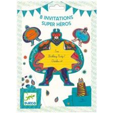 Комплект покани за парти Djeco - Superheros, 8 броя -1