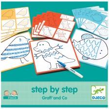 Комплект за рисуване Djeco - Нарисувай стъпка по стъпка животни Graff & Co -1