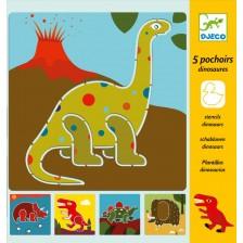 Комплект шаблони за рисуване Djeco - Динозаври -1