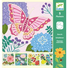 Комплект шаблони за рисуване Djeco - Криле в градината -1