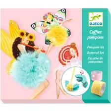 Творчески комплект за тъкане Djeco - Феи с помпони -1