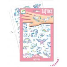 Детски татуировки Djeco - Еднорози, блестящи -1