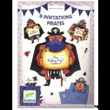 Комплект покани за парти Djeco - Pirates, 8 броя -1