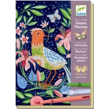 Комплект за рисуване Djeco -  В градината, със 7 флумастера -1