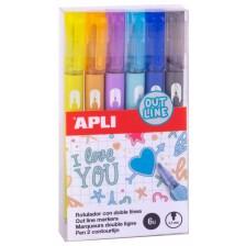 Apli Двуцветни маркери за външна линия -1