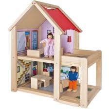 Дървена къща за кукли Eichhorn - С включени кукли -1