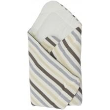 Бебешко плетено одеяло EKO - Сиво райе, 75 х 75 cm -1