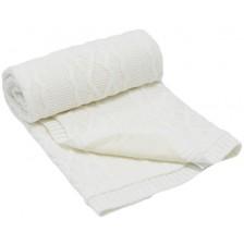 Бебешко плетено одеяло EKO - Бяло, 85 х 75 cm -1