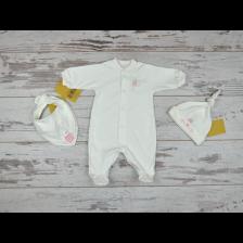 Комплект For Babies - Зайче, гащеризон, лигавник и шапка, 0 месеца -1