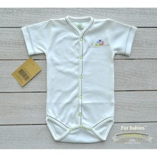 Боди с предно закопчаване къс ръкав For Babies - Охлювче, 3-6 месеца -1