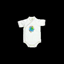 Боди камизолка с къс ръкав For Babies - Global, 3-6 месеца -1