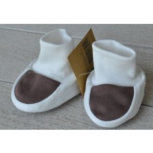 Бебешки обувки For Babies - Бяло и кафяво, 0+ месеца -1
