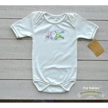 Боди с прехвърлено рамо For Babies - Bikes, 6-12 месеца -1