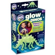 Фосфоресцираща фигурка Brainstorm Glow Dinos - Стегозавър, скелет -1