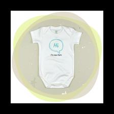Памучно боди с къс ръкав For Babies - Hi, I'm new here, 56 cm, 0-1 месеца -1