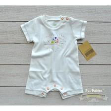 Бебешко гащеризонче с къс ръкав For Babies -  Охлювче с точки, 3-6 месеца -1