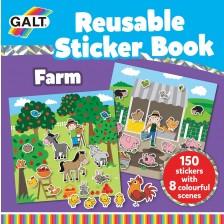Книжка със стикери Galt - Ферма, 150 стикера за многократна употреба -1
