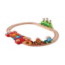 Дървена игра Hape - Железница, музикална -1