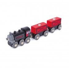Игрален комплект Hape - Товарен влак с парен локомотив -1