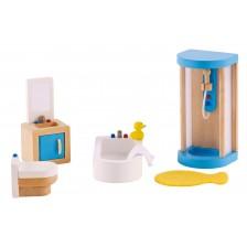 Комплект дървени мини мебели Hape - Баня, 5 части -1