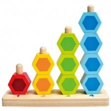 Разноцветни форми за нанизване Hape, дървени -1