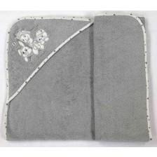 Хавлия с качулка Bambino Casa - Paris, Grigio, 100 х 100 cm -1