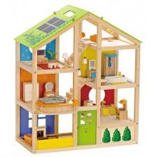 Детска дървена куклена къща с обзавеждане -1