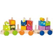Разноцветно влакче с кубчета Hape, дървени -1