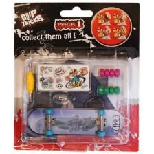 Играчкa за пръсти Grip&Trick - Skateboard, синя -1