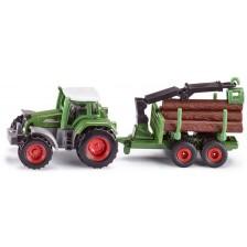 Метална играчка Siku Super - Трактор с ремарке за горското стопанство -1