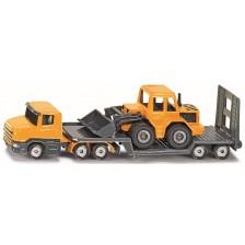 Метална играчка Siku - Камион с платформа и багер -1