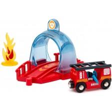 Игрален комплект Brio Smart Tech - Тунел и пожарен вагон -1