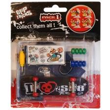 Играчкa за пръсти Grip&Trick - Skateboard, черна с череп -1