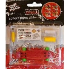 Играчка за пръсти Grip&Trick - Penny Board, червена -1