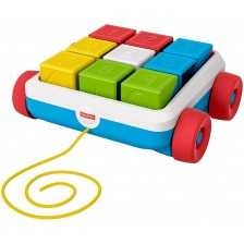 Играчка за дърпане Fisher Price - Количка с кубчета -1