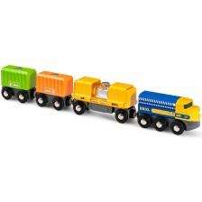 Игрален комплект Brio - Товарен влак с три вагона -1