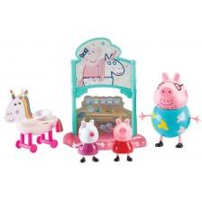 Игрален комплект Peppa Pig - Еднорог парти, с 3 фигури -1